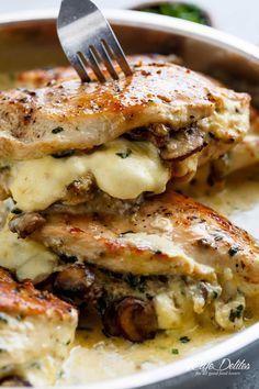 Cheesy Garlic Butter Mushroom Stuffed Chicken WITH an optional Creamy Garlic Par., Garlic Butter Mushroom Stuffed Chicken WITH an optional Creamy Garlic Parmesan Sauce! Garlic Mushroom lovers this is THE recipe of your dreams! Creamy Garlic Parmesan Sauce, Chicken Parmesan Recipes, Chicken Salad Recipes, Recipe Chicken, Chicken Mushroom Recipes, Stuffed Chicken Recipes, Stuffed Chicken Parmesan, Chicken Meals, Cream Cheese Stuffed Chicken
