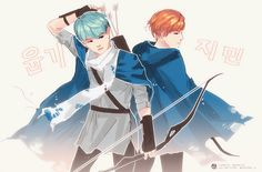 Not my fanart. This is a cool picture of Suga and Jimin.