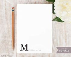 CORNER MONOGRAM NOTEPAD - Personalized Stationery/Stationary 5x7 or 8x10 Note Pad Monogrammed Stationery, Personalized Stationary, 10 Envelope, Sweater Nails, Types Of Printing, Monogram Letters, Little Gifts, Note Cards, Unique Gifts