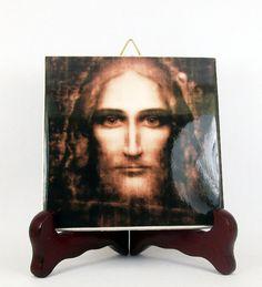 #Jesus Holy Face - #Catholic #icon on tile - https://www.etsy.com/it/listing/231687053/jesus-art-christ-holy-shroud-face