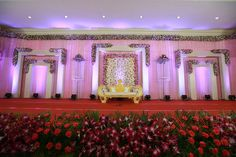 Modern Wedding Stage Decoration in Beautiful Pink Theme🌸 Designed and styled by 📞💬 7997458082 Celebrate Your Day✨ Simple Stage Decorations, Wedding Hall Decorations, Marriage Decoration, Backdrop Decorations, Flower Decorations, Reception Stage Decor, Wedding Reception Backdrop, Wedding Mandap, Indian Wedding Stage