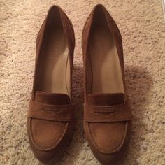 Talbots brown suede loafer heels This are great for fall and winter. The loafer looks for a sophisticated heel. So classy! Dress up or down! Only worn twice Talbots Shoes Heels