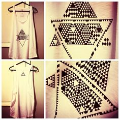 DIY Printed Tank Top (2012) by Miss Jhoang. An geometric triangles design transferred onto a tank top. This was done on a piece of heat transfer paper. Like the patterns on this. Another possible idea to use in my table cloth idea, using geometric shapes to convey water and food.
