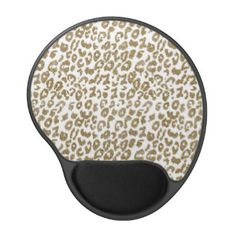 Pretty trendy faux gold glitter leopard print gel mouse pad