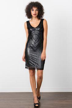 Sequined sheath dress.