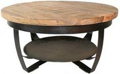 Salontafel Cilamon 70 cm zwart - industrieel - hout - metaal - rond