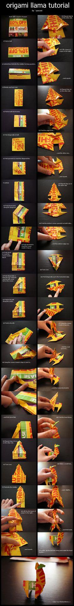 Origami Llama Tutorial by `synconi on deviantART