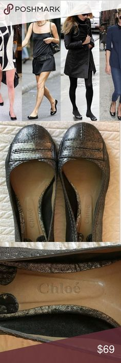 Chloe ballet flats in gunmetal They are super comfortable.  Love these shoes. Gently worn and well taken care of. No box, sorry.  3156 Chloe Shoes Flats & Loafers