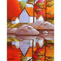 8x11 Art Print Autumn Vacation Cottages Modern por SoloWorkStudio