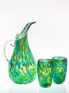 Fleur Pitcher with Tumblers by Orbix Hot Glass