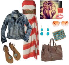 """""""coral maxi"""" by pyroprincess on Polyvore"""