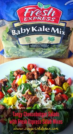 An Opera Singer in the Kitchen: Tangy Cheeseburger Salads with Fresh Express Salad Mixes.