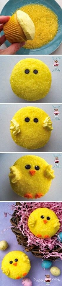 Nice idea for Easter cupcakes.