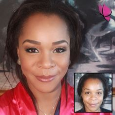 A true beauty inside and out, before and after  #MakeoverMonday with the lovely Kyshana and her glowing #makeuplook  #beforeandafter #makeovermagic #makeuptransformation #bridalmakeup by Kay of #kayanabeauty #kayanabeautytrends