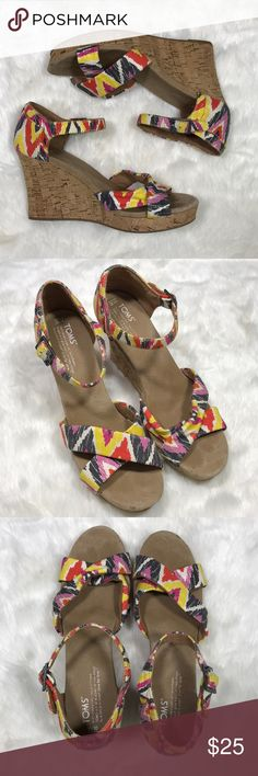 Toms Cork Wedge Sandals Size 10 These super cute printed sandals are perfect for date night or a casual dinner. Shows signs of normal wear. Reasonable offer welcomed! Toms Shoes Sandals