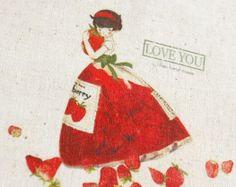 Tissu imprimé à la main en coton lin de Antiquefindings sur DaWanda.com