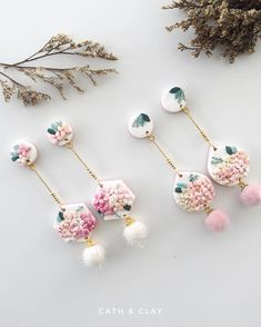 Only managed to make extra 2 pairs for the launch on Etsy tonight! Polymer Clay Flowers, Polymer Clay Charms, Polymer Clay Projects, Diy Clay, Polymer Clay Art, Handmade Polymer Clay, Polymer Clay Earrings, Clay Crafts, Clay Design