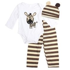 The Zeus set is perfect for play clothes.  Cute and casual! 3-Piece Set Cute animal print pattern Long Sleeve Onesie + Striped Pants + Soft Hat Cozy and casual