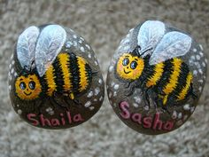 Bees painted on rocks