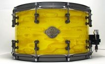 14x8 Blue Gum Snare Drum - Groovyo Veneer - Canary Yellow Stain - High Gloss