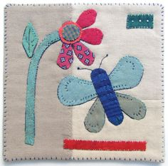 """Hand stitched appliqué mini-quilt with turned edges and facing finish. 6""""x6"""""""