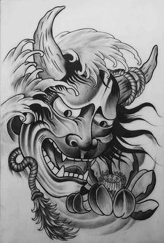 Tattoos From Around The World – Voyage Afield Hanya Mask Tattoo, Demon Tattoo, Samurai Tattoo, Japanese Mask Tattoo, Japanese Tattoo Designs, Japanese Sleeve Tattoos, Neue Tattoos, Body Art Tattoos, Tattoo Mascara