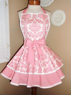 MamaMadison BEST Seller...Pink Damask Print Womans Retro Apron With Tiered Skirt And Bib