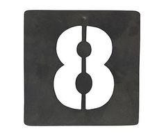 Chiffre décoratif pochoir n° 8, fer galvanisé - H10