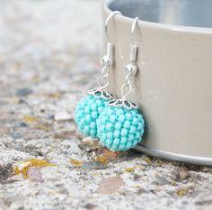 Handbeaded Sky Ocean Aqua Tiffany Blue Mint Matte Chech by ByLEXY, $10.00