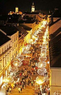 Christmas market, Győr, Hungary