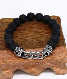 Fashion Lava Stone Beaded Bracelet Titanium Jewelry for Men