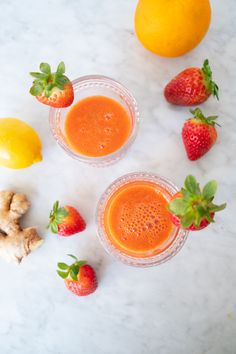 These strawberry wellness shots each contain 2/3 of your daily dose of vitamin C. Recipe by Whitney E, RD. #californiastrawberries #supercshot #juiceshots #vitaminc #nutriton #registeredietitian #strawberryrecipes #fruitjuice #plantbased Strawberry Shots, Healthy Strawberry Recipes, Vegan Vegetarian, Paleo, Wellness Shots, Fruit Juice, Pretty Good, Vitamin C, Ramadan