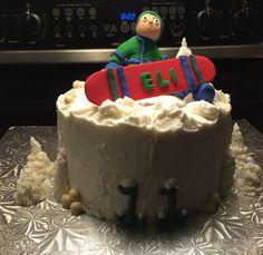 Snowboarder birthday cake Snowboard Cake, Snowboarding, Birthday Cake, Cakes, Desserts, Food, Snow Board, Tailgate Desserts, Deserts