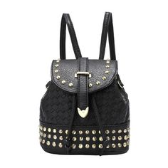 SheIn(sheinside) Black Bead PU Backpack (54 SAR) ❤ liked on Polyvore featuring bags, backpacks, backpack, purses, black, studded backpack, beaded bag, backpacks bags, black studded bag and black knapsack