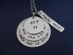 Hand Stamped Scripture Necklace - Psalm 46:5 - God Is Within Her She Will Not Fall. He Will Help Her At Break of Day - Bible Verse Necklace by TheVerseWithin on Etsy