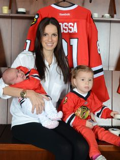 Jana Hossa, wife of #81 Marian Hossa with daughters Mia, 28 months & Zoja, 2 months. #Chicago #ChicagoBlackhawks