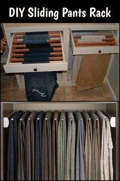 Here& a clever way to organize your pants - build a DIY sliding pants rack and save space! Bedroom Closet Design, Wardrobe Design, Closet Designs, Interior Design Living Room, Cool Furniture, Bedroom Furniture, Furniture Design, Furniture Online, Contemporary Furniture
