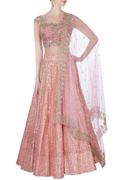 Shop Anushree Reddy - Pink sequin embellished lehenga set Latest Collection Available at Aza Fashions Indian Fashion Dresses, Indian Bridal Outfits, Indian Gowns Dresses, Dress Indian Style, Indian Designer Outfits, Bridal Dresses, Bridal Gown, Indian Wear, Lehnga Dress