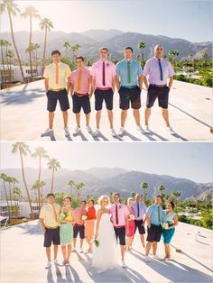 rainbow colored wedding party #bridesmaids #groomsmen #weddingchicks http://www.weddingchicks.com/2014/02/05/the-saguaro/