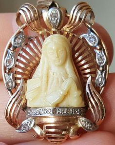 Vintage French Art Deco Madonna Pendant Virgin Mary 18ct Gold Hand Carved Pendant Blessed Virgin Religious Pendant FREE SHIPPING by PinyolBoiVintage on Etsy