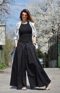 Womens Black Pants, Plus Size Pants, Extravagant Drop Crotch Trousers, Skirt Like Pants, Maxi Pants by SSDfashion Formal Pants Women, Pants For Women, Ladies Pants, Fashion Pants, Hijab Fashion, Fashion Outfits, Plus Size Fashion For Women, Black Women Fashion, Black Harem Pants