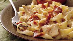 Chicken Fettucine - Progresso® chicken broth provides a simple addition to this chicken and pasta casserole – a mild dinner.
