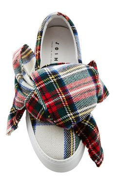 Plaid Bow Slip On Sneakers by JOSHUA SANDERS Now Available on Moda Operandi
