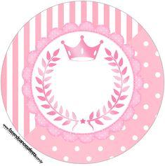 Toppers docinhos e cupcakes Kit Realeza Rosa