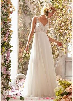 Fabulous Chiffon V-neck Natural Waistline A-line Wedding Dress