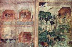 Anonyme anglais: scènes du déluge. Pages enluminées de la Bible d'Egerton, folios 3v et 4r. Vers 1350–75. Londres, British Library, Egerton 1894.