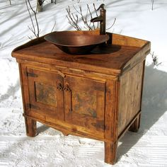 Here's a DYI idea: combine a sink or a large bowl with an antique piece of furniture, add a well-pump style faucet, for a turn of the century cabin look. For the guest bathroom. Rustic Bathroom Designs, Rustic Bathroom Decor, Rustic Bathrooms, Modern Bathroom, Rustic Decor, Wood Bathroom, Rustic Style, Bathroom Ideas, Shower Designs