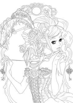 Free vintage girl lineart - plz credit by HyperVanity Deviantart