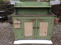 Antique Dry Sink Cupboard Stepback High Back Old Paint Step Back