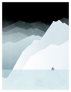 Icy Abstract Landscape Art Prints Mountains Iceberg door evesand